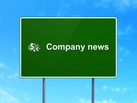 News concept: Company News and Finance Symbol icon on green road (highway) sign, clear blue sky background, 3d render photo