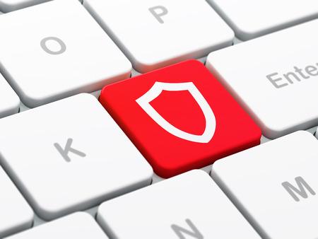 contoured: Concepto de seguridad: Teclado de ordenador con el icono del escudo contorneado en introducir fondo de bot�n, de enfoque seleccionada, 3d
