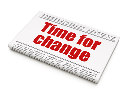 Time news concept: newspaper headline Time for Change on White background, 3d render Stock Photo - 23226818