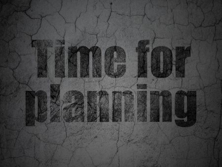 Timeline concept: Black Time for Planning on grunge textured concrete wall background, 3d render photo