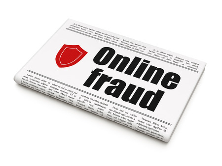 online privacy: Privacy news concept: newspaper headline Online Fraud and Shield icon on White background, 3d render