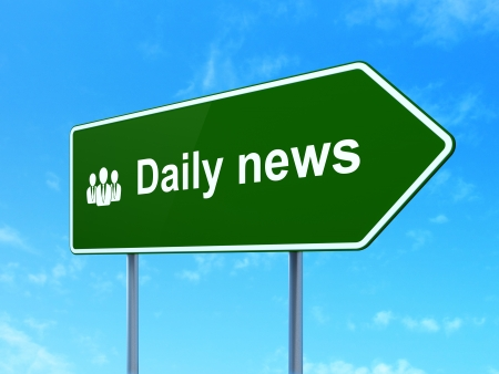 News concept: Daily News and Business People icon on green road (highway) sign, clear blue sky background, 3d render photo