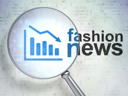 News concept: magnifying optical glass with Decline Graph icon and Fashion News word on digital background, 3d render photo