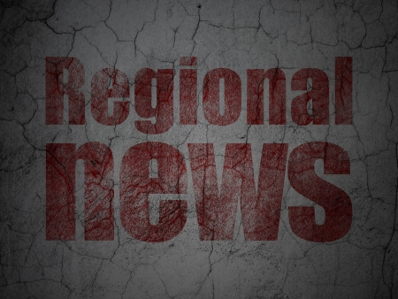 News concept: Red Regional News on grunge textured concrete wall background, 3d render photo