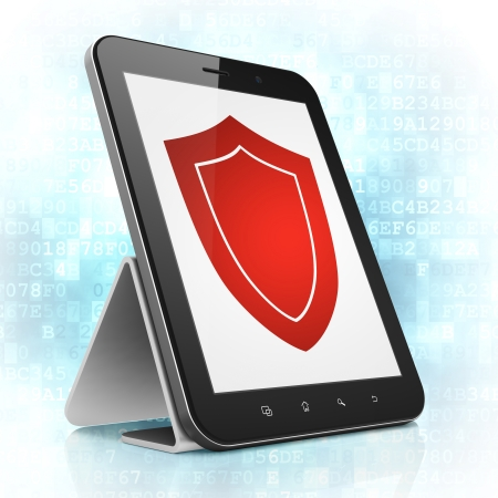 Protection concept: black tablet pc computer with Shield icon on display. Modern portable touch pad on Blue Digital background, 3d render photo