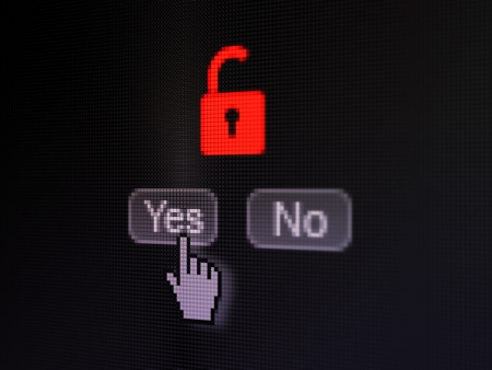 Security concept: buttons yes and no with pixelated Opened Padlock icon and Hand cursor on digital computer screen, selected focus 3d render photo