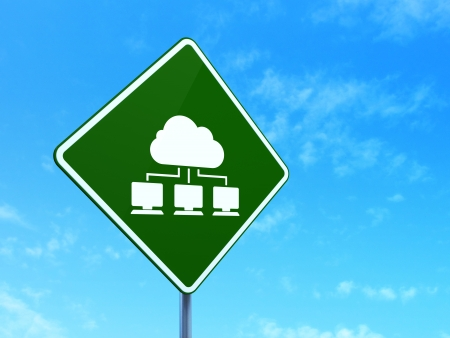 Cloud networking concept: Cloud Network on green road (highway) sign, clear blue sky background, 3d render photo