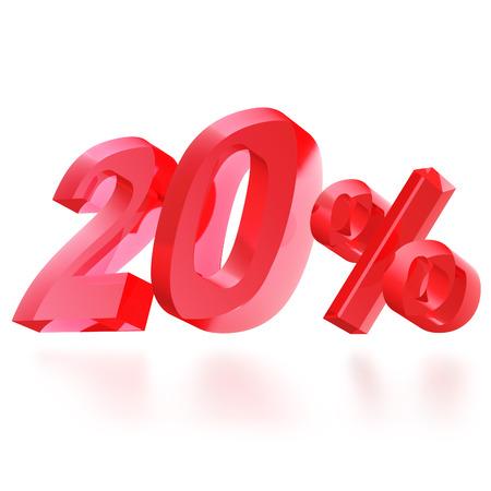 rebate: Sales concept: 20% off sign on white background, 3d render