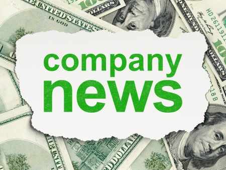 News concept: torn paper with words Company News on Money background, 3d render photo