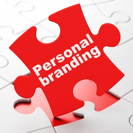 brainteaser: Marketing concept: Personal Branding on Red puzzle pieces background, 3d render