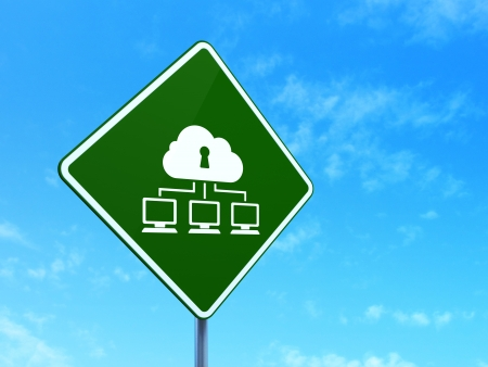 Safety concept: Cloud Network on green road (highway) sign, clear blue sky background, 3d render photo