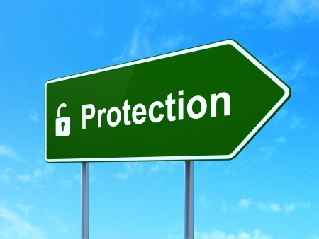 Protection concept: Protection and Opened Padlock icon on green road (highway) sign, clear blue sky background, 3d render photo