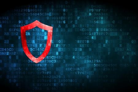 contoured: Concepto de seguridad: pixelada Icono del blindaje contorneada en el fondo digital, copyspace vac�o para la tarjeta, texto, publicidad, 3d