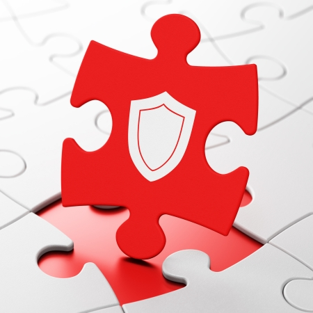 Protection concept: Shield on Red puzzle pieces background, 3d render photo