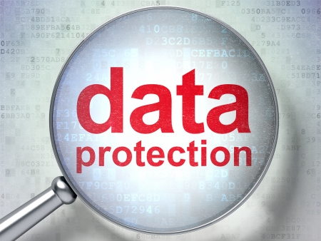 Protection concept: magnifying optical glass with words Data Protection on digital background, 3d render photo