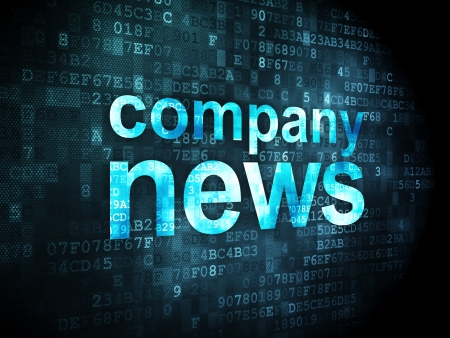 News concept: pixelated words Company News on digital background, 3d render photo