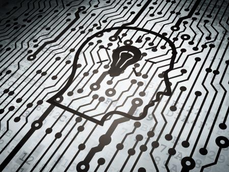 Concepto de la Informaci�n: placa de circuito con cabeza con icono de bombilla, 3d
