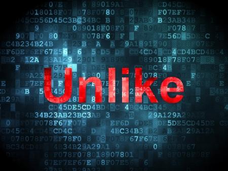Social media concept: pixelated words Unlike on digital background, 3d render Stock Photo - 23227325