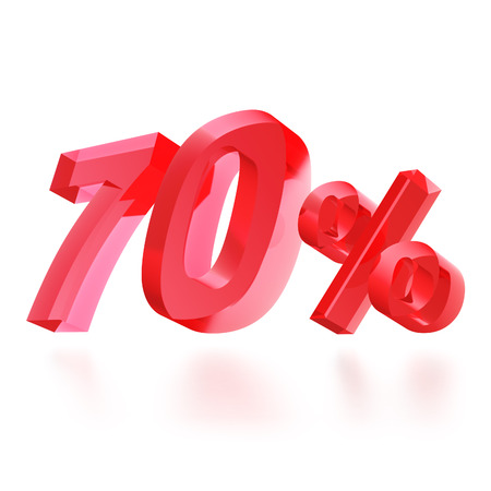 Sales concept: 70% off sign on white background, 3d render photo