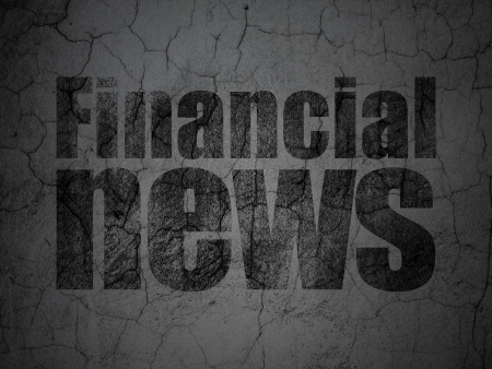 News concept: Black Financial News on grunge textured concrete wall background, 3d render photo
