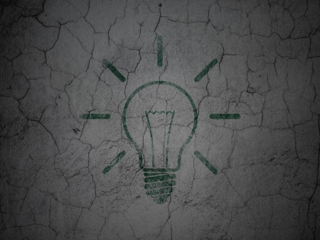 Finance concept: Green Light Bulb on grunge textured concrete wall background, 3d render photo