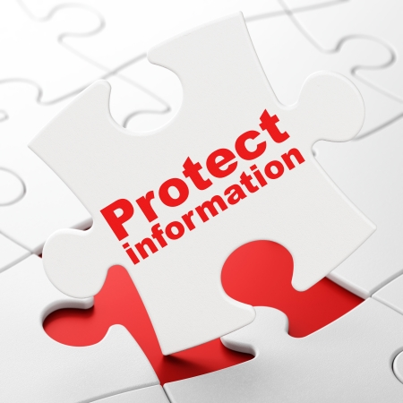 Protection concept: Protect Information on White puzzle pieces background, 3d render photo