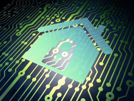 Protection concept: circuit board with Metal Home icon, 3d render photo