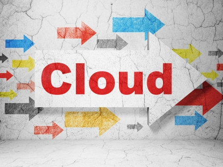 Cloud technology concept:  arrow whis Cloud on grunge textured concrete wall background, 3d render photo