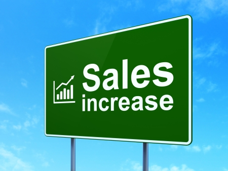 Advertising concept: Sales Increase and Growth Graph icon on green road (highway) sign, clear blue sky background, 3d render photo