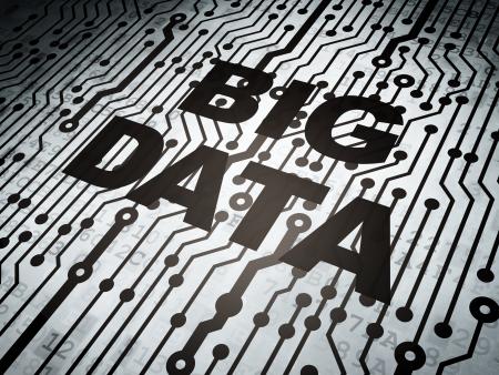 big: Concepto de datos: placa de circuito con la palabra Big Data, 3d Foto de archivo