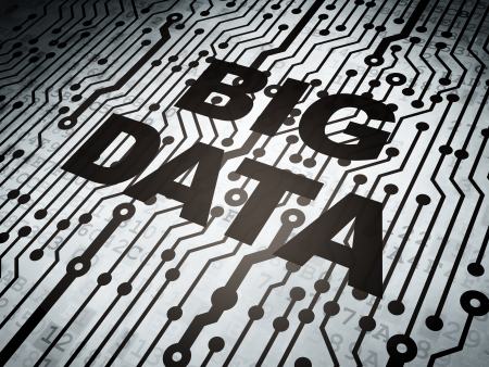 data backup: Data concept: circuit board with  word Big Data, 3d render