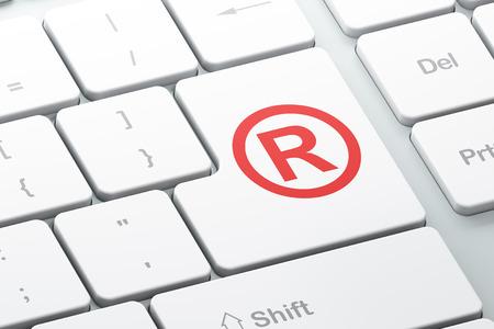 r regulation: Law concept: Enter button with Registered on computer keyboard background, 3d render