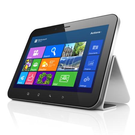 Negro ordenador Tablet PC con escritorio en la pantalla. Moderno panel t�ctil port�til de pie sobre fondo blanco, 3d Foto de archivo