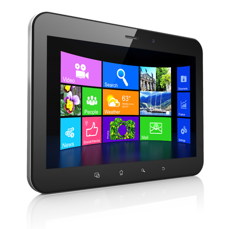 Black tablet pc computer with Desktop on display. Modern portable touch pad on White background, 3d render photo