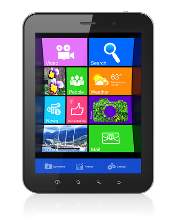 Negro ordenador Tablet PC con escritorio en la pantalla. Moderno panel t�ctil port�til sobre fondo blanco, 3d photo
