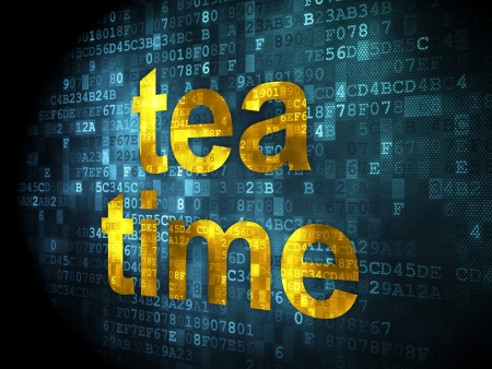 Time concept: pixelated words Tea Time on digital background, 3d render photo