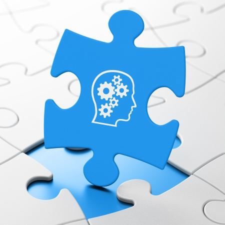 Data concept: Head With Gears on Blue puzzle pieces background, 3d render photo