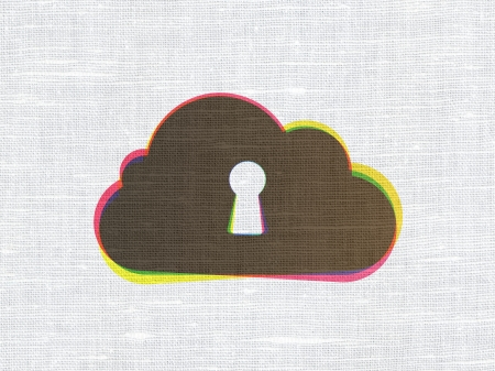 Cloud technology concept: CMYK Cloud With Keyhole on linen fabric texture background, 3d render photo