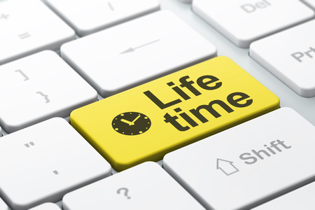 Timeline concept: computer keyboard with Clock icon and word Life Time, selected focus on enter button, 3d render photo