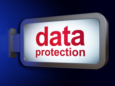 Safety concept: Data Protection on advertising billboard background, 3d render photo