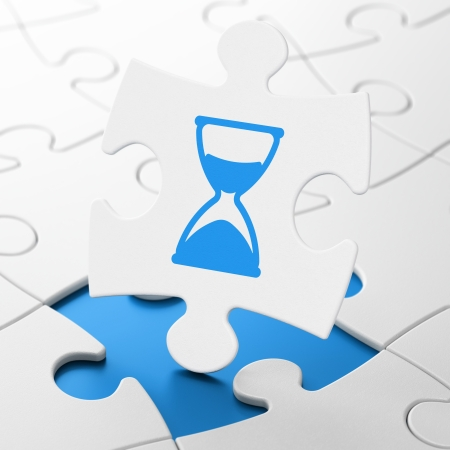 Time concept: Hourglass on White puzzle pieces background, 3d render photo