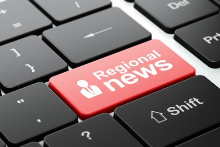 News concept: computer keyboard with Business Man icon and word Regional News, selected focus on enter button, 3d render photo