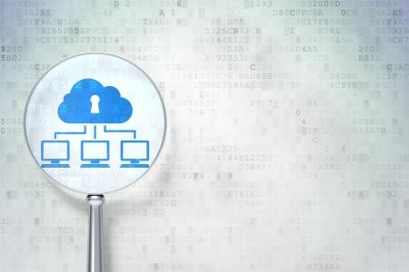 Cloud networking concept: vergrootglas optisch glas met Cloud Network pictogram op digitale achtergrond, lege copyspace voor kaart, tekst, reclame, 3d render