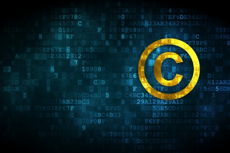 information technology law: Law concept: pixelated Copyright icon on digital background, empty copyspace for card, text, advertising, 3d render Stock Photo