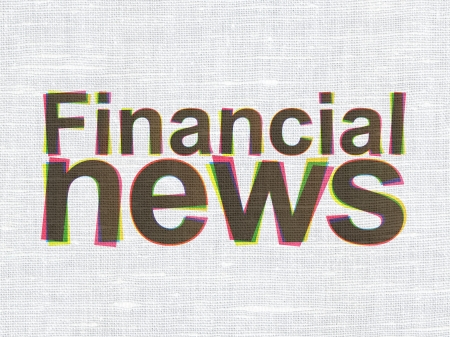 News concept: CMYK Financial News on linen fabric texture background, 3d render photo