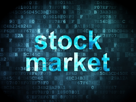 Business concept: pixelated words Stock Market on digital background, 3d render photo