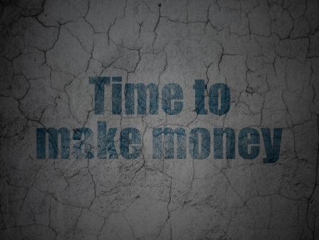 Timeline concept: Blue Time to Make money on grunge textured concrete wall background, 3d render photo