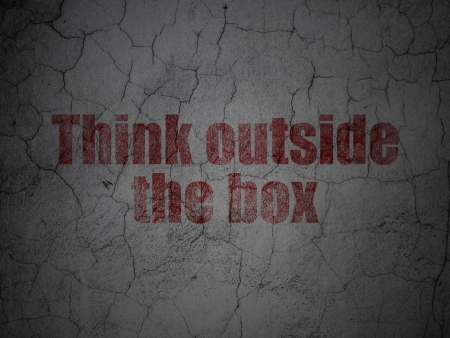 outside box: Education concept: Red Think outside The box on grunge textured concrete wall background, 3d render