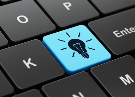 keyboard keys: Business concept: computer keyboard with Light Bulb icon on enter button background, 3d render