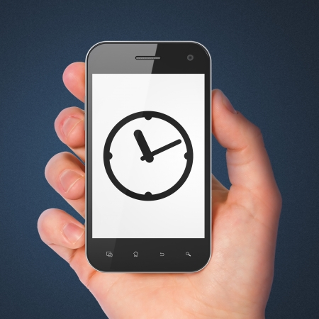 Time concept: hand holding smartphone with Clock on display. Mobile smart phone on Blue background, 3d render photo